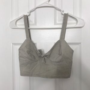 H&M Pin Striped Gray / White Crop Top Tank